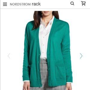 Halogen NWT size L green cardigan